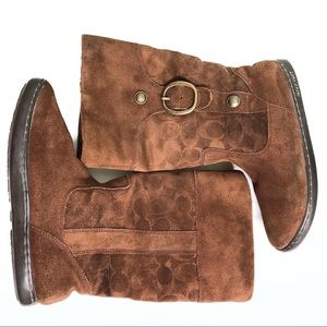Coach Meyer Brown Suede Boots